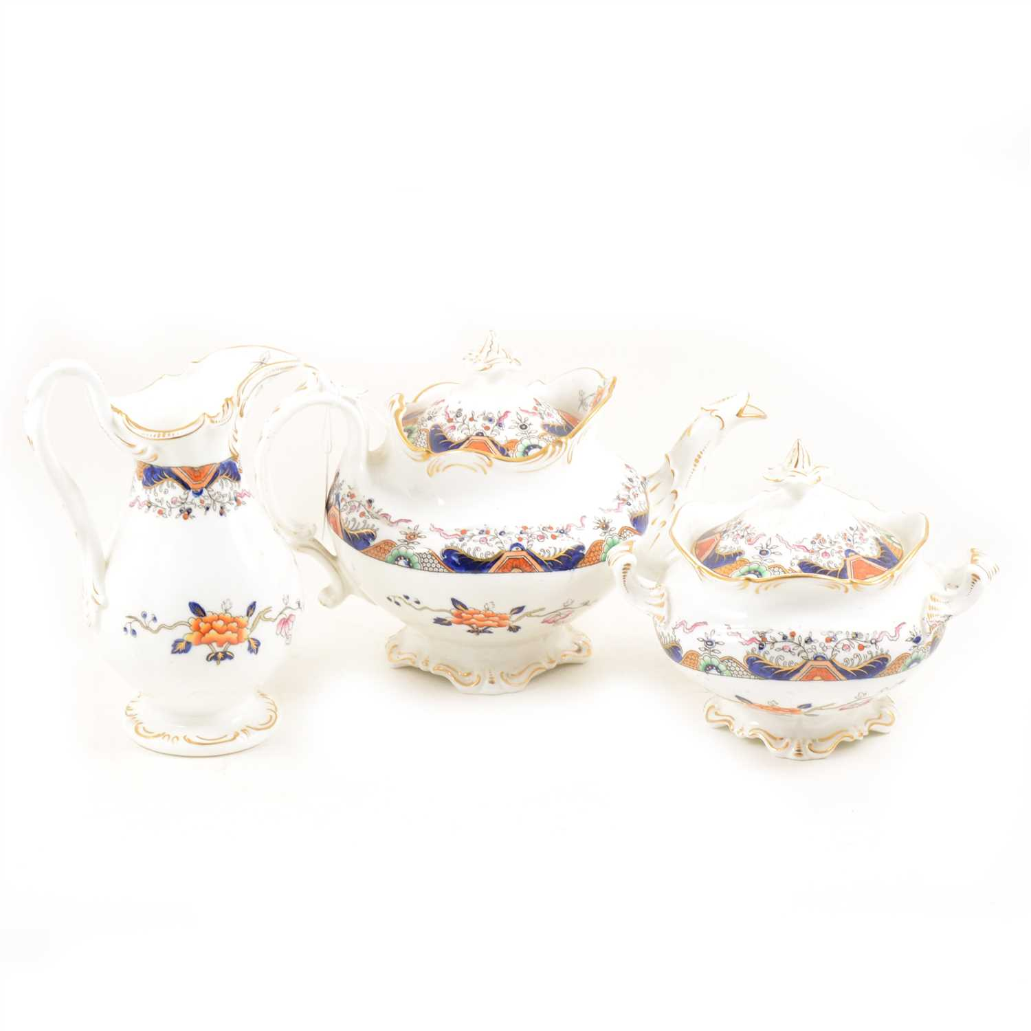 Lot 83-A Victorian tea/breakfast service, ironstone red blue and green floral design