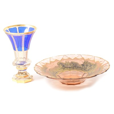 Lot 29-Bohemian blue over-laid glass trumpet shape vase, and gilt decorated bowl.