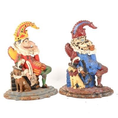 Lot 101-Painted cast iron doorstop, Mr. Punch, 33cm; and another.