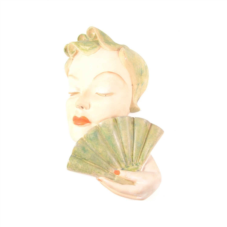 Lot 26-Art Deco painted plaster wall mask, signed Leonardi