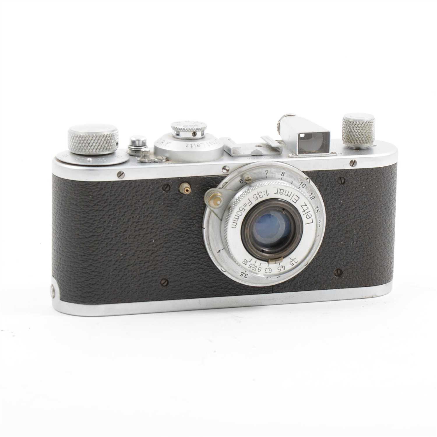Lot 76-A Leica Standard model E camera, circa 1937, with Leitz Elmar 1:35 F/50mm lens