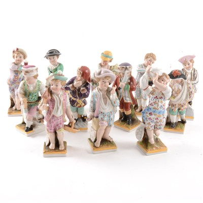 Lot 42-A set of Dresden figures, Months of the Year, 20th century