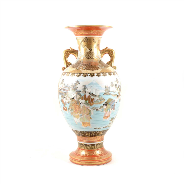 Lot 67-A Japanese porcelain two-handled vase, ...