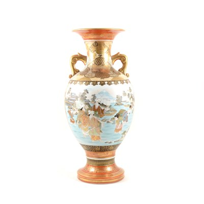 Lot 67-A Japanese porcelain two-handled vase, ...