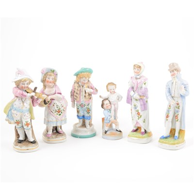 Lot 5-Pair of German porcelain figures of child musicians, and twelve others.