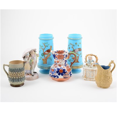 Lot 27-Pair of Victorian opaque blue glass vases, stoneware jugs, etc.