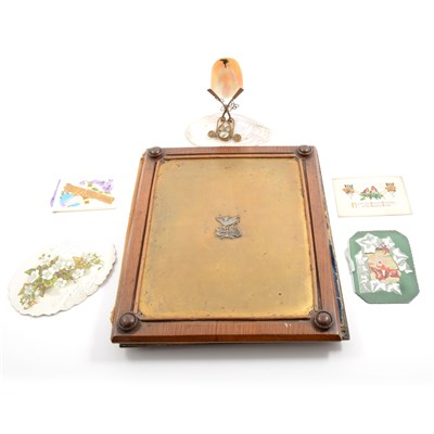 Lot 56-Victorian desk blotter, souvenir watch stand and ephemera