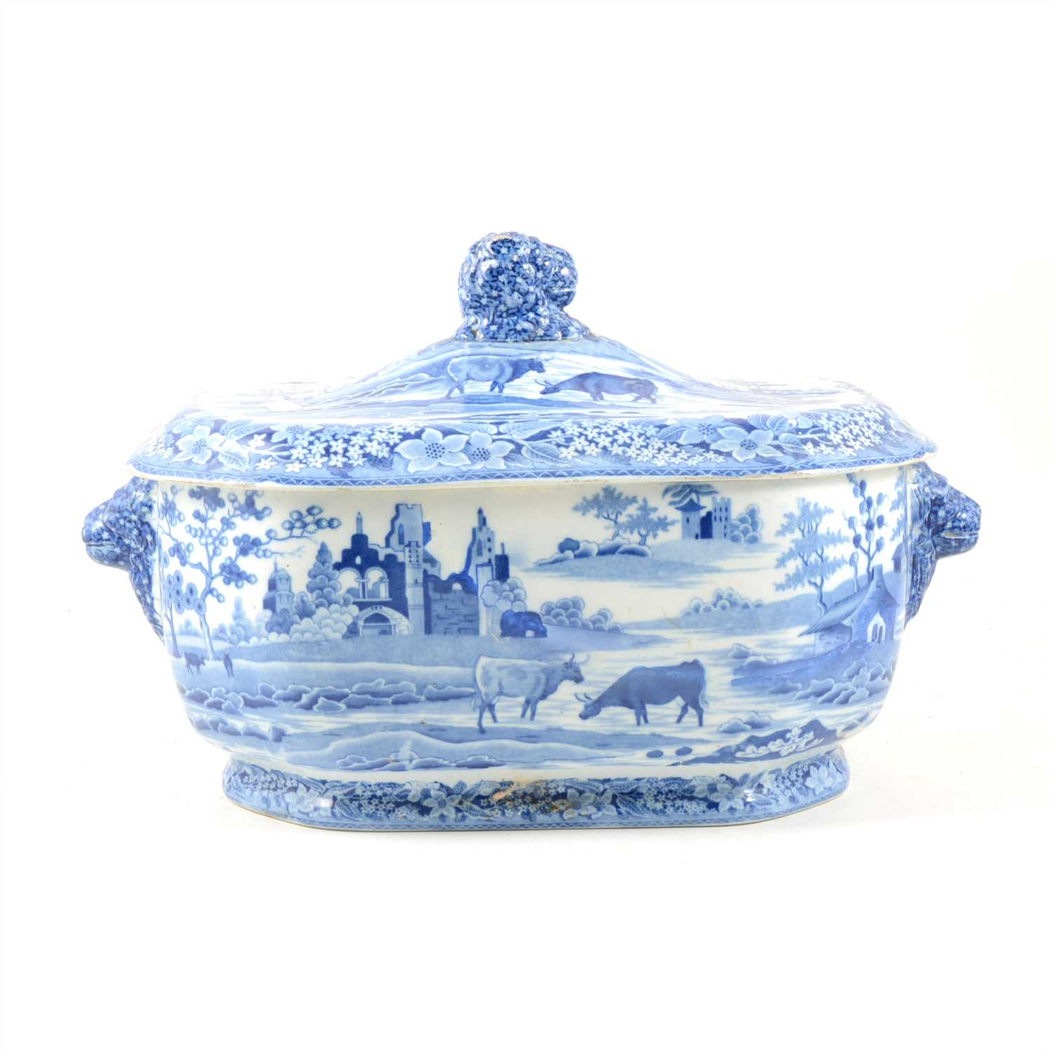 Lot 76-Staffordshire transferware tureen, decorated with cattle watering, ...