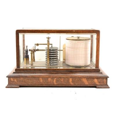 Lot 132-An oak cased and glazed barograph, ...