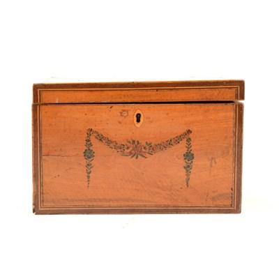 Lot 176-George III painted satinwood tea caddy, ...