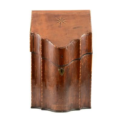 Lot 189-George III inlaid mahogany knife box, ...