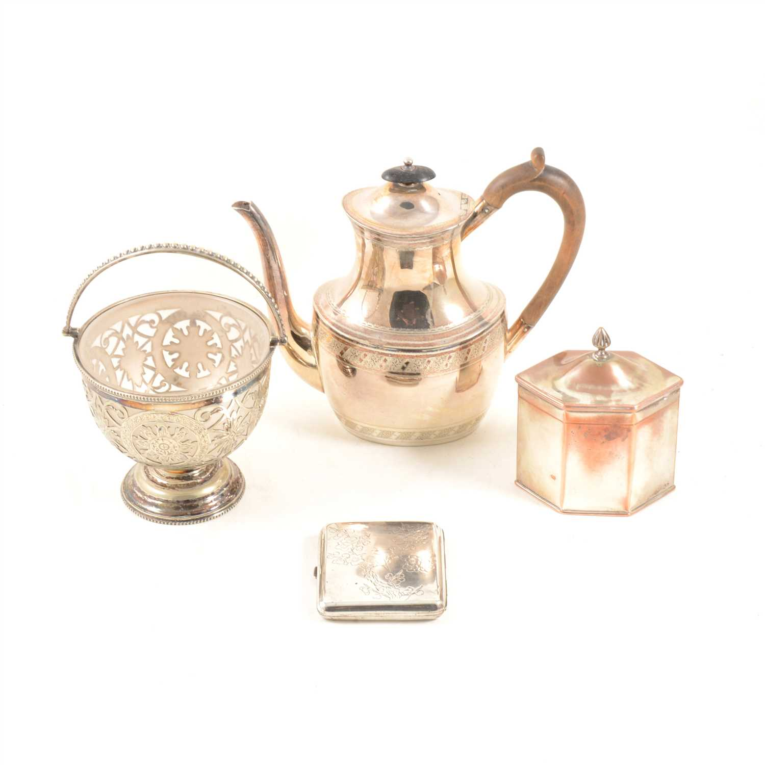 Lot 107-Collection of electroplated ware, including a tea caddy of hexagonal section, ...
