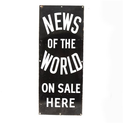 Lot 157-An enamel sign 'NEWS OF THE WORLD ON SALE HERE', 77cm x 31cm.