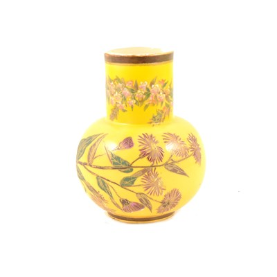 Lot 55-Royal Worcester yellow ground vase, date mark for 1884, ...
