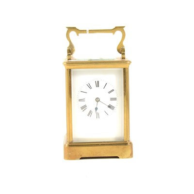 Lot 177-French brass cased carriage clock, white enamelled dial, platform escapement, 15cm.