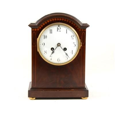 Lot 186-Edwardian inlaid mahogany mantel clock, arched top, ...