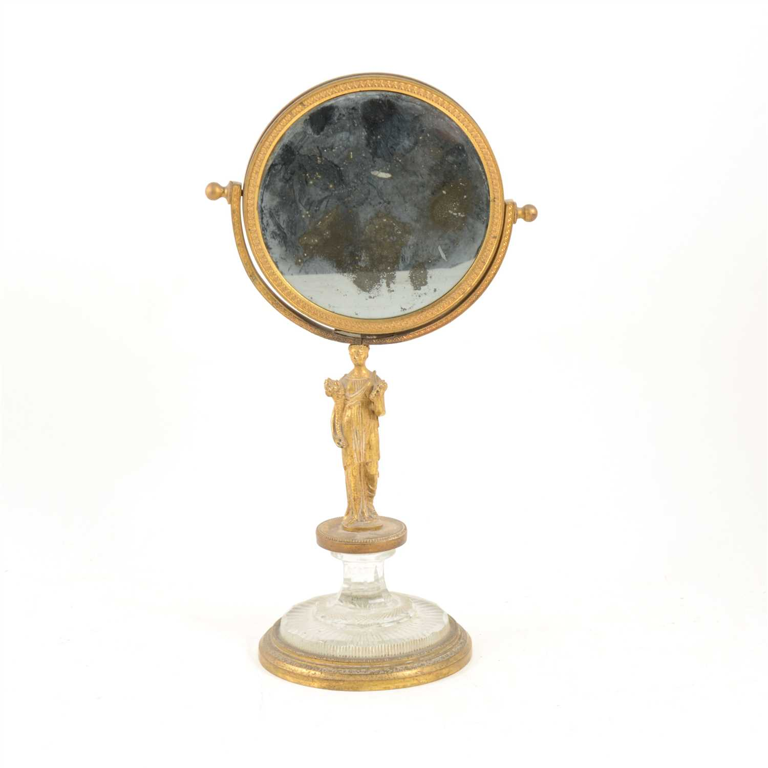 Lot 164-Empire style gilt metal table mirror, ...