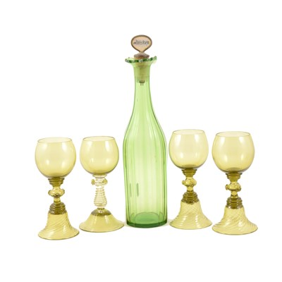 Lot 74-Victorian green glass decanter, ...