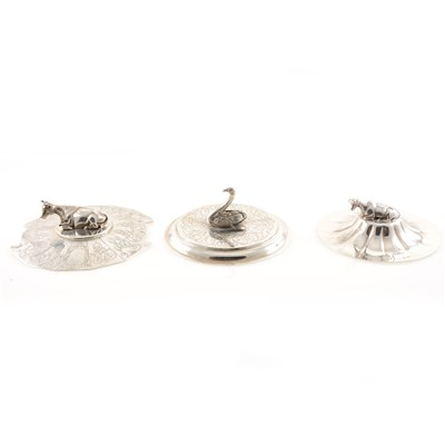 Lot 208-A silver lid with ram finial and two crests by Henry Wilkinson & Co, Sheffield 1837, another with bull finial and elaborate engraved panels by Henry Wilkinson & Co, Sheffield 1843, and another