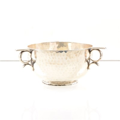 """Lot 211-A silver bowl by Boodle & Dunthorne, hammered finish with three handles, base engraved """"Dunthorne 13 Lord Street Liverpool"""", London 1903, approx. weight 8.5oz."""