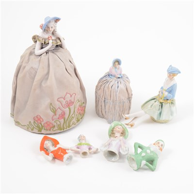 Lot 41-A large collection of pin cushion dolls and half dolls.