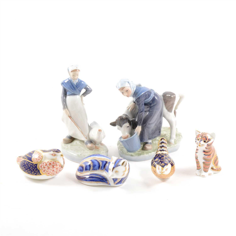 Lot 24-A Royal Copenhagen figure, Milkmaid feeding a calf, and other Copenhagen ceramics