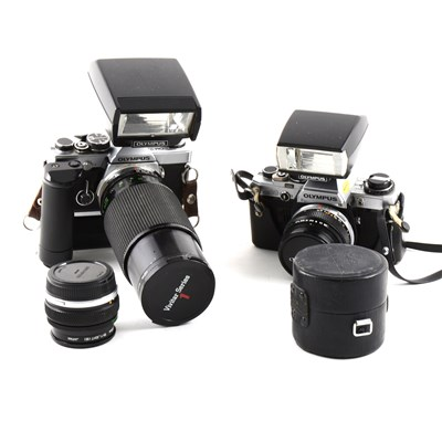 Lot 93-Collection of Olympus SLR cameras, lenses and accessories.