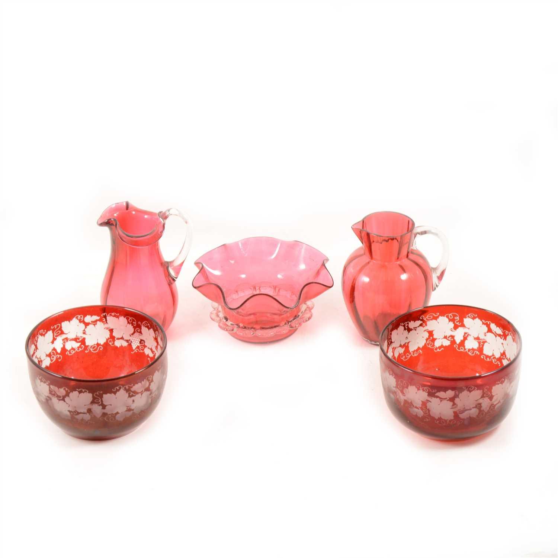 Lot 101-Ruby glass lustre vase, ...