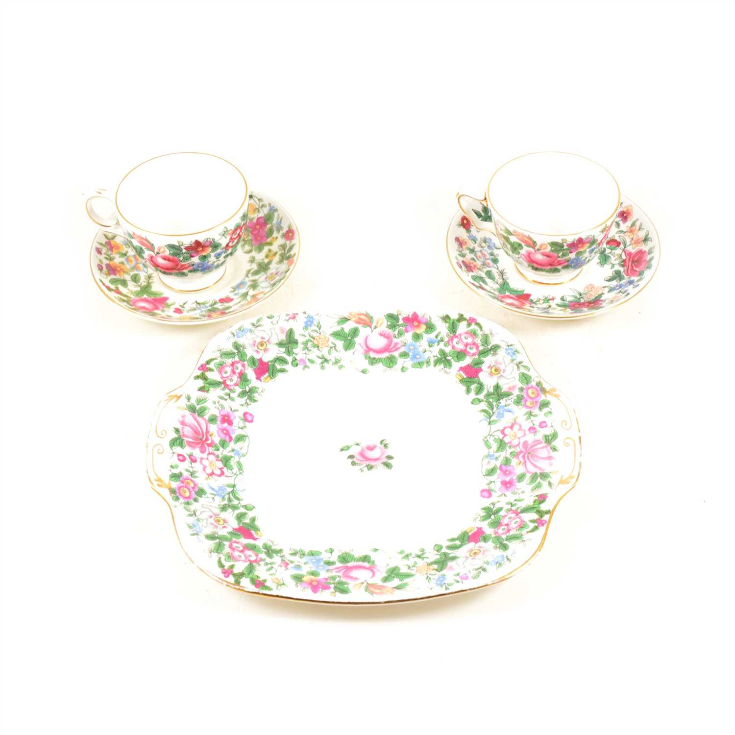 Lot 102-Crown Staffordshire bone china teaset, A Thousand Flowers pattern; ...