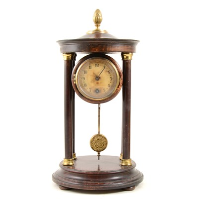 Lot 193-Stained beechwood portico clock, ...