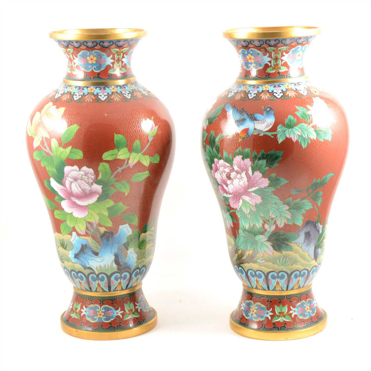 Lot 104-Pair of modern Chinese cloisonné vases, ...