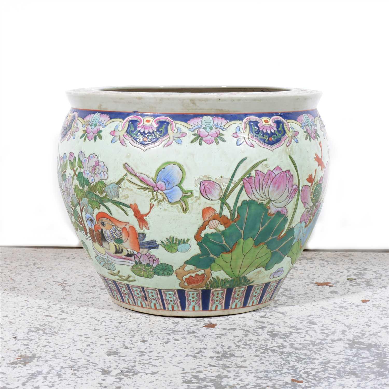 Lot 106-Modern Chinese stoneware fish bowl, ...