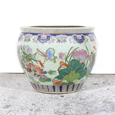 Lot 106-Modern Chinese stoneware fish bowl, ...