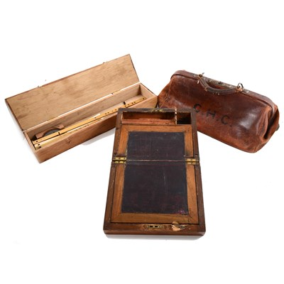 Lot 66-Edwardian leather Gladstone bag, three writing boxes, and a pantograph, etc.