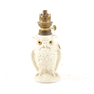 Lot 2-Edwardian porcelain nursery oil lamp, in the form of an owl