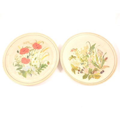 Lot 75-A pair of buff coloured circular plaques, P. Ipsen, each painted with spring flowers, diameter 37cm.