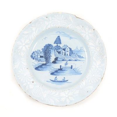 Lot 20-English Delft blue and white plate, ...