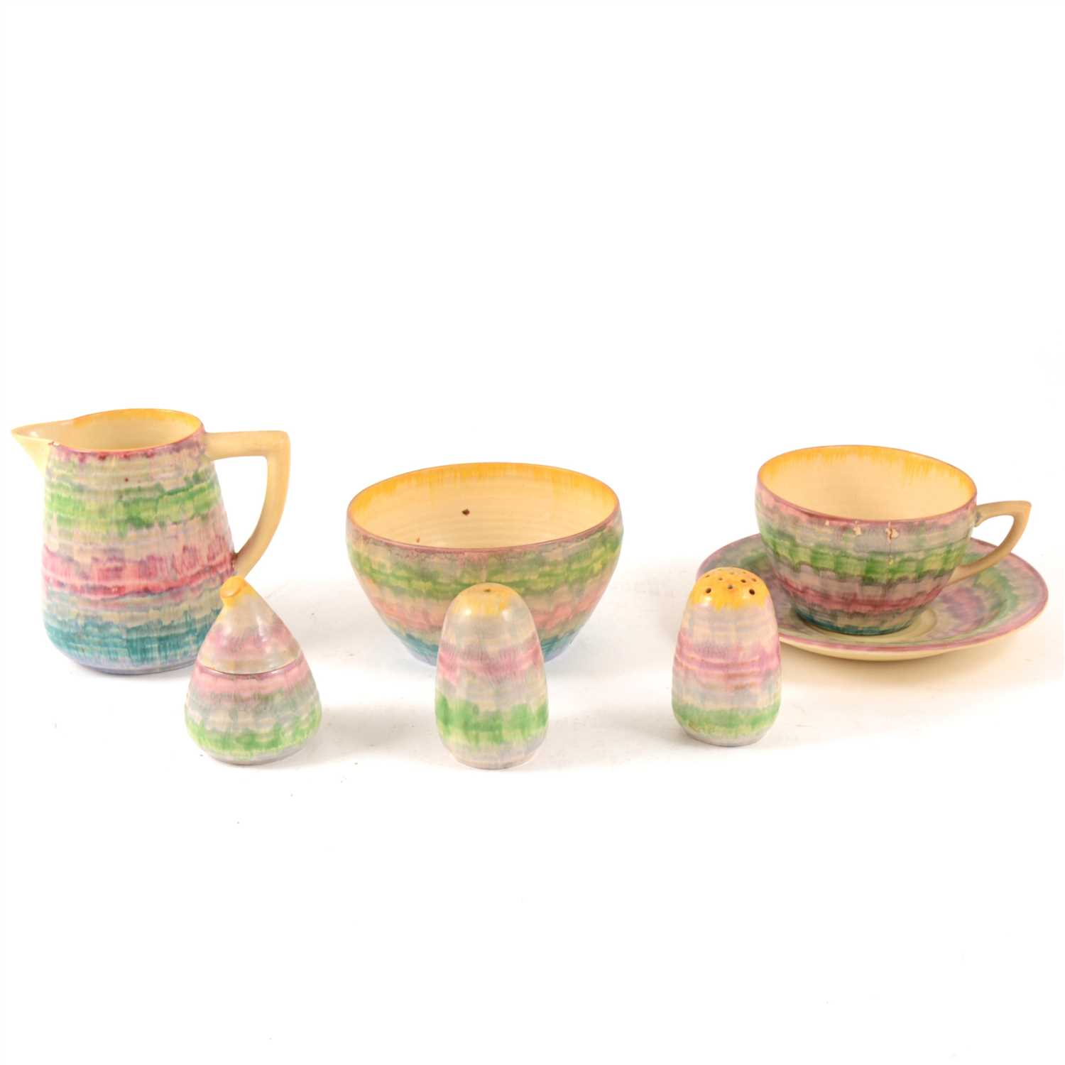 Lot 11-A 'Delecia' pattern part tea set for six by Clarice Cliff, some damages