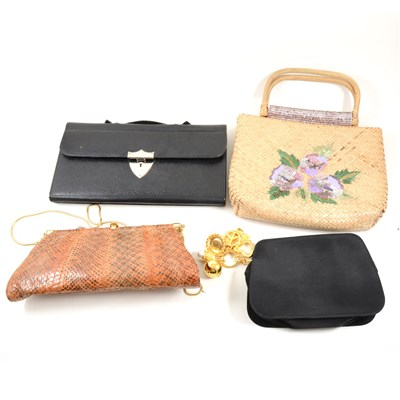 Lot 118-A collection of vintage handbags, including red leather bag by Bueno and matching gloves, large printed plastic bag depicting old style sailing boats with bamboo effect handle, etc, (11)
