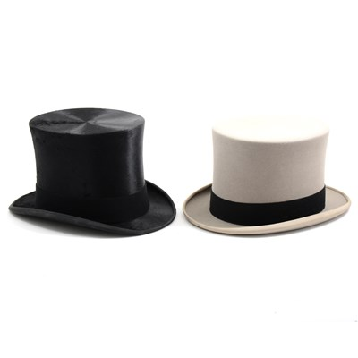 Lot 68-Black silk top hat, James Lock & Co, London, and a grey top hat
