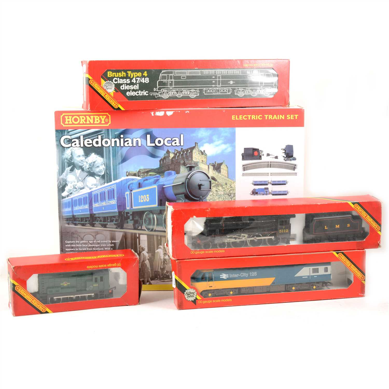 Lot 21-Hornby railways Caledonian Local set, and 4 other boxed locomotives.