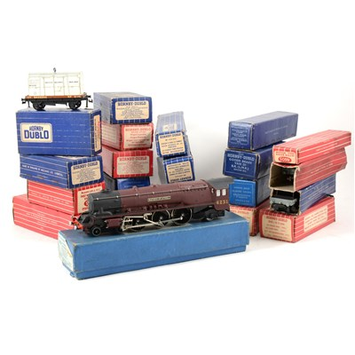 Lot 22-Hornby Dublo EDL2 Duchess of Atholl loco, and other wagons and coaches.