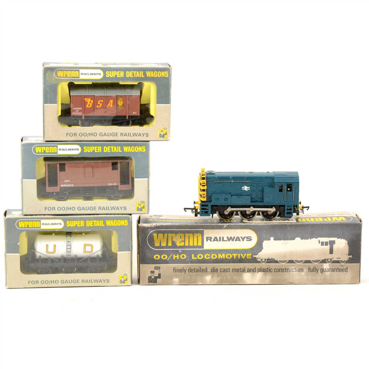 Lot 4-Wrenn Railways W2232 0-6-0 Diesel locomotive and three wagons.