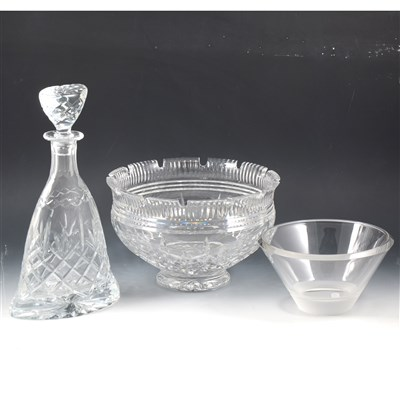 Lot 25-Waterford crystal 'Monteith' bowl and two other pieces of crystal glass.