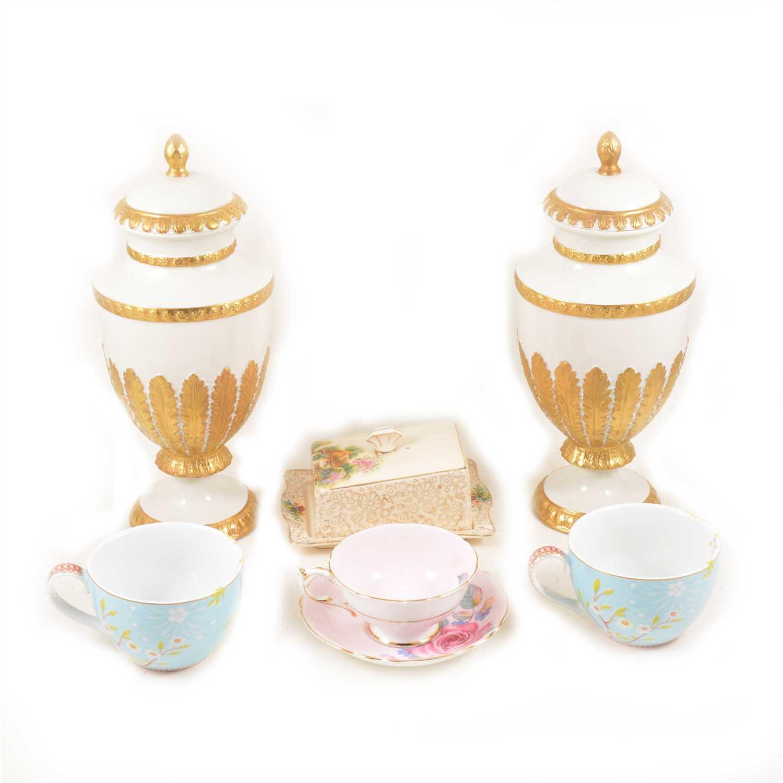 Lot 32-Pair of Italian creamware type urn-shaped covered vases, Villari