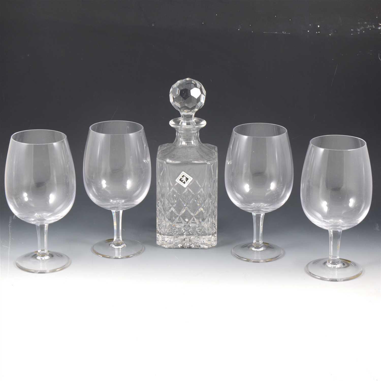 Lot 48-Edinburgh International crystal whisky decanter, and six German glasses