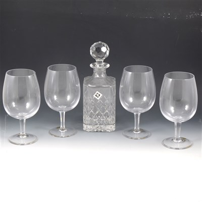 Lot 48-Edinburgh International crystal whisky decanter, and six German glasses