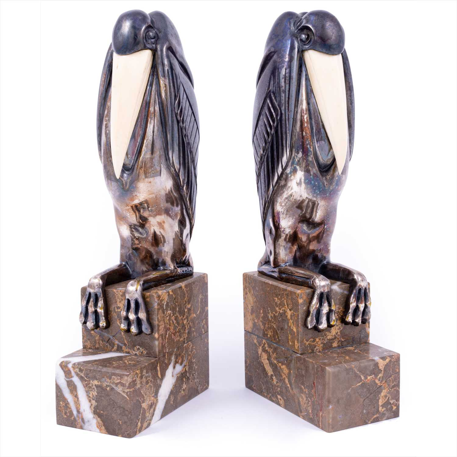 143 - A pair of Art Deco silvered bronze and ivory bookends by Marcel-Andre Bouraine