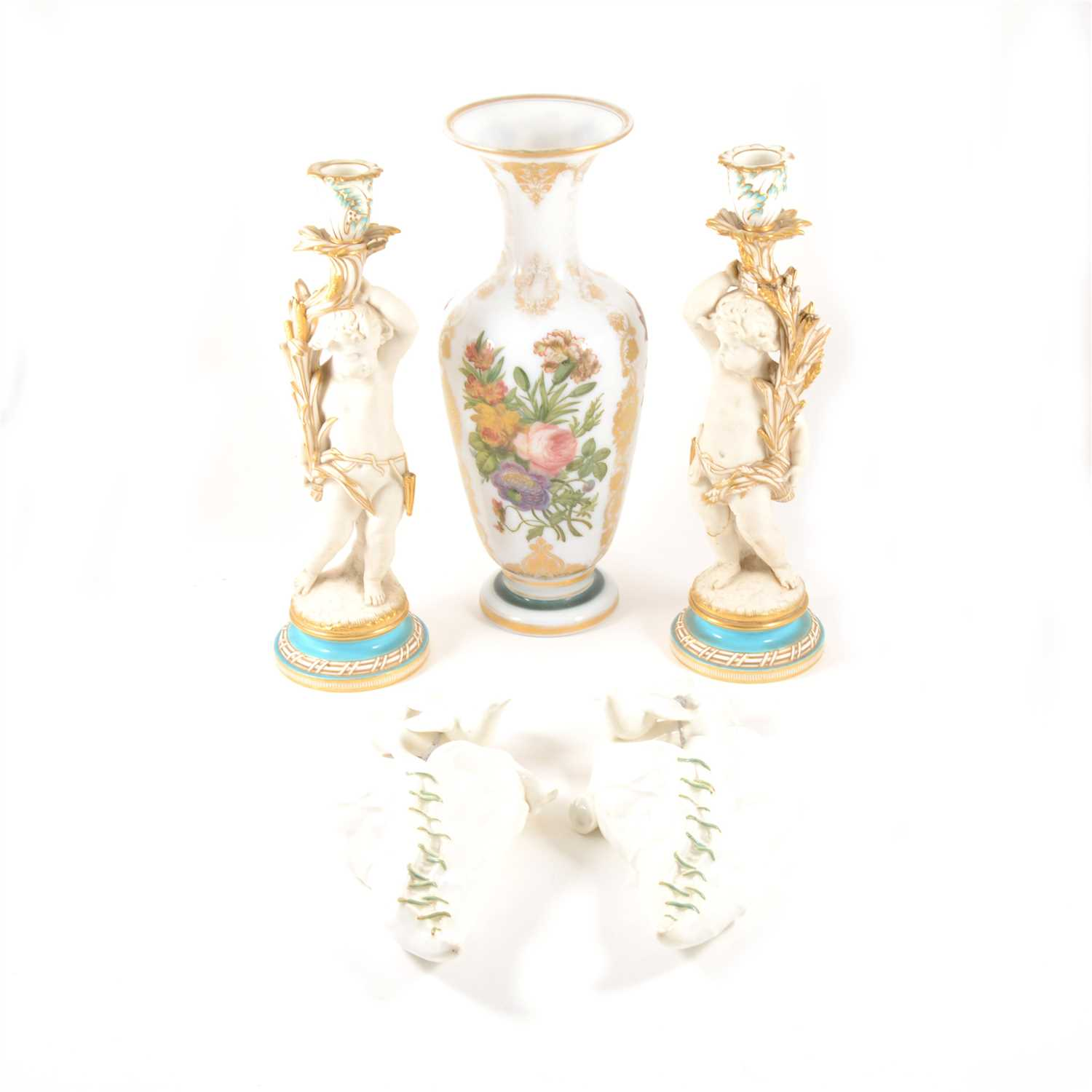 Lot 5-Pair of Royal Worcester two wall pockets, circa 1880, etc