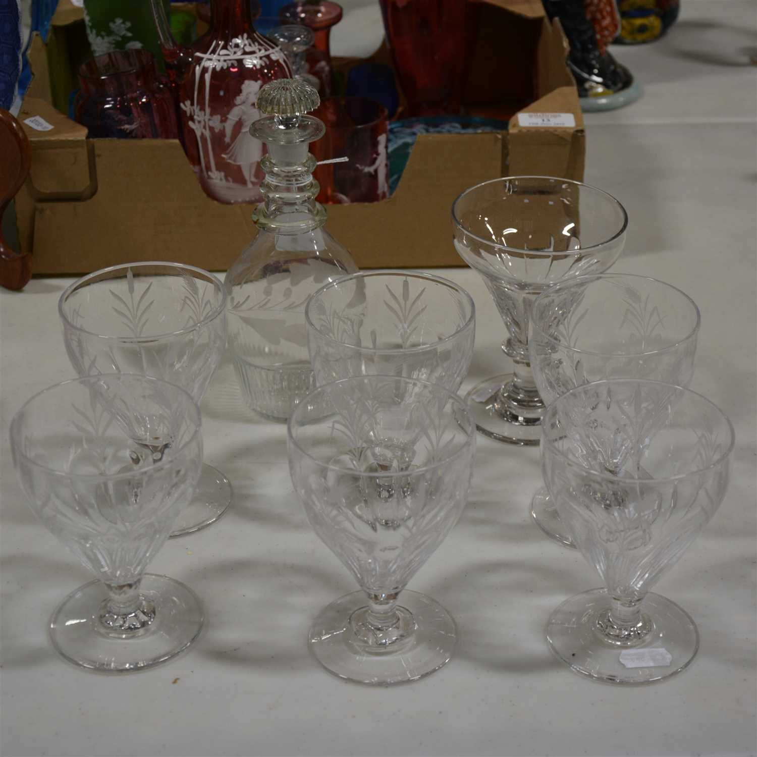 Lot 14-Set of six Victorian rummers and glassware
